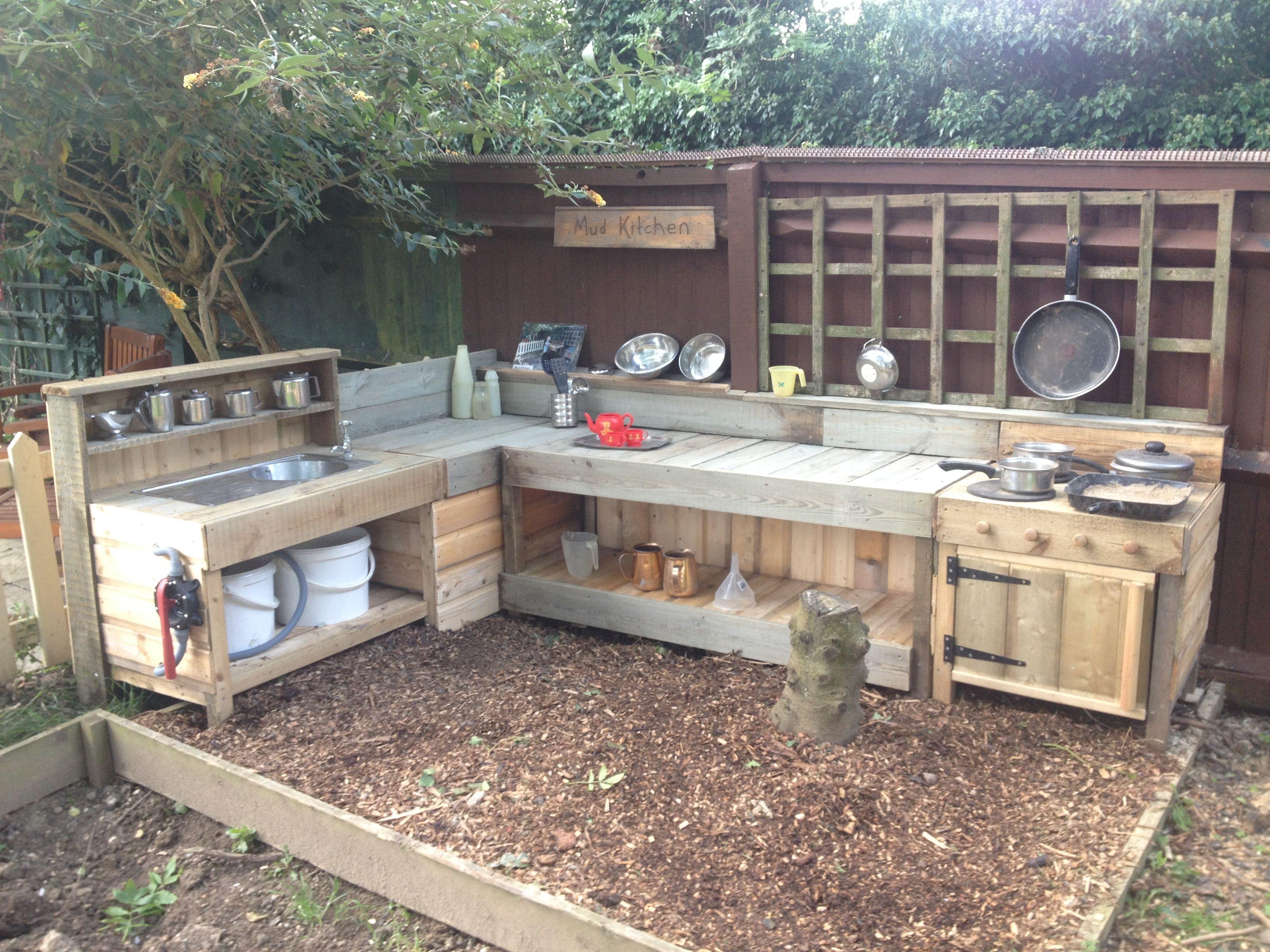 Our New Mud Kitchen Mudkitchen Openendedplay Mud Mud Kitchen Gardening For Kids Mud Kitchen For Kids