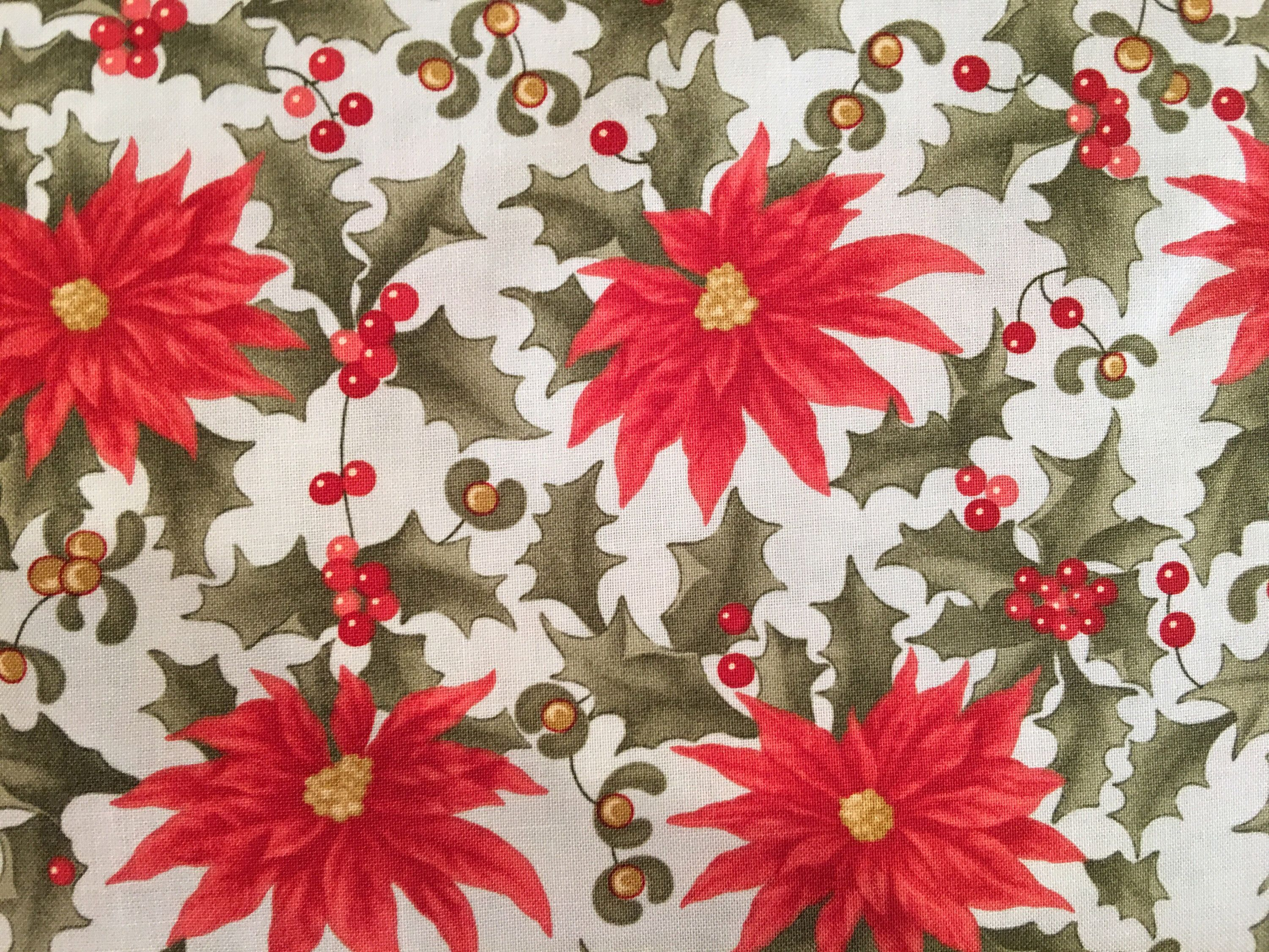 Christmas Fabric By The Yard Poinsettia Fabric By The Yard Etsy
