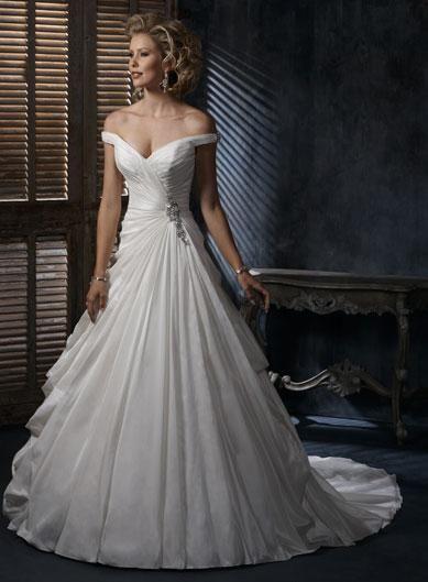 6b2385f72f26e off the shoulder Wedding Dresses | Off the Shoulder V-neck Beaded A-line  Silhouette Corset Wedding Dress .