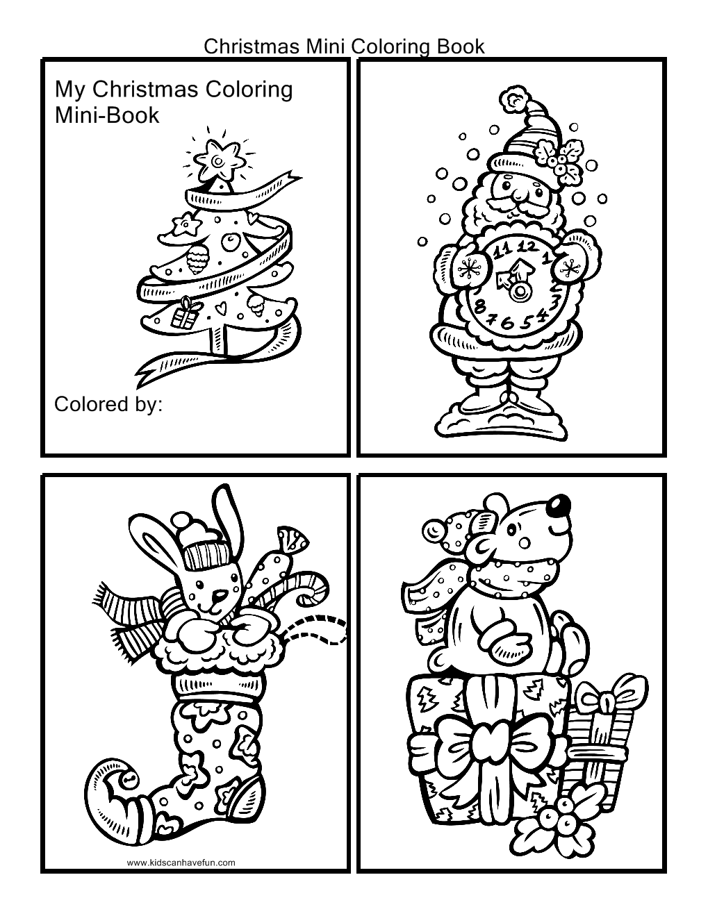 Christmas Mini Coloring Book. Cut out the pictures and staple ...