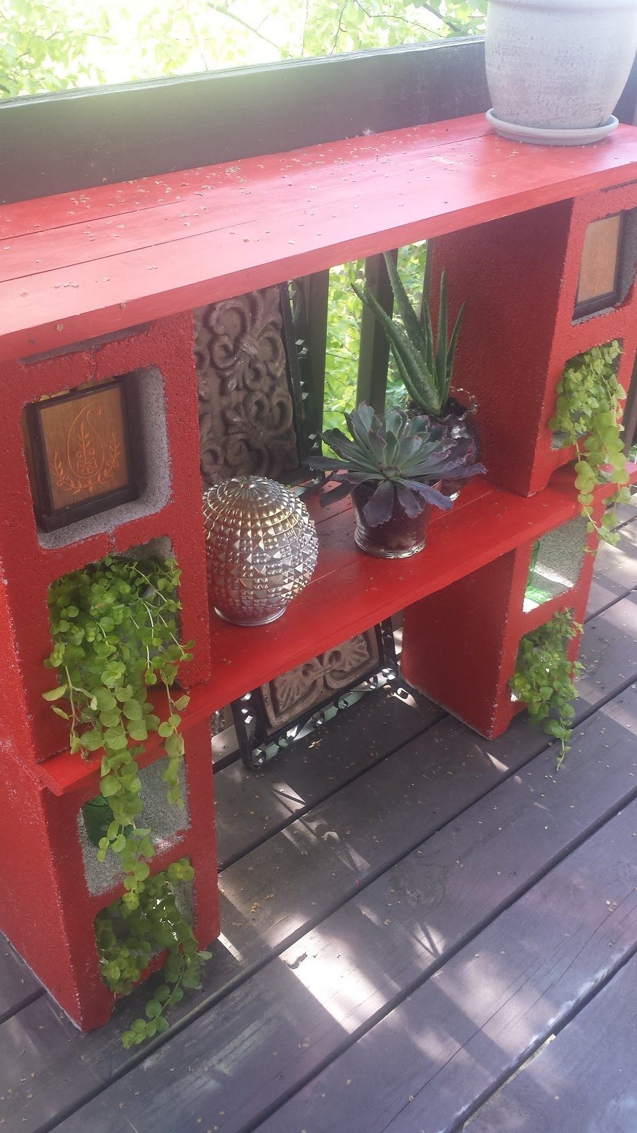 Decorating My Condo Balcony With A Diy Cinder Block Plant Stand Bar And Tablerunner Turned Rug Condo Balcony Plant Stand Cinder Block