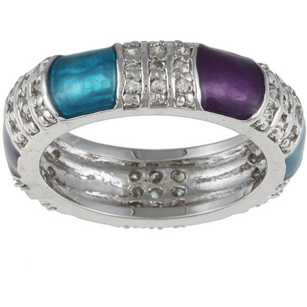 Kate Bissett Silvertone  and Purple Accent Cubic Zirconia Ring ($23) ❤ liked on Polyvore featuring jewelry, rings, cz jewellery, cz rings, silvertone jewelry, cubic zirconia jewelry and purple rings