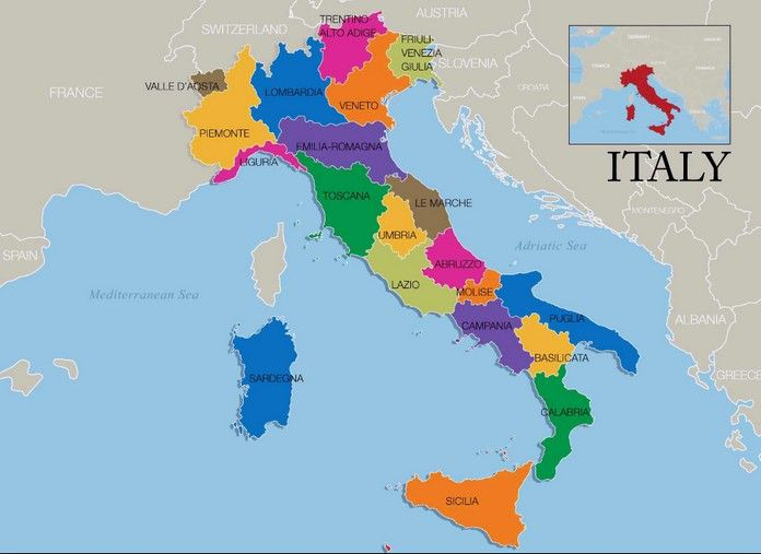 The Map of Italy showing main cities islands resorts roads