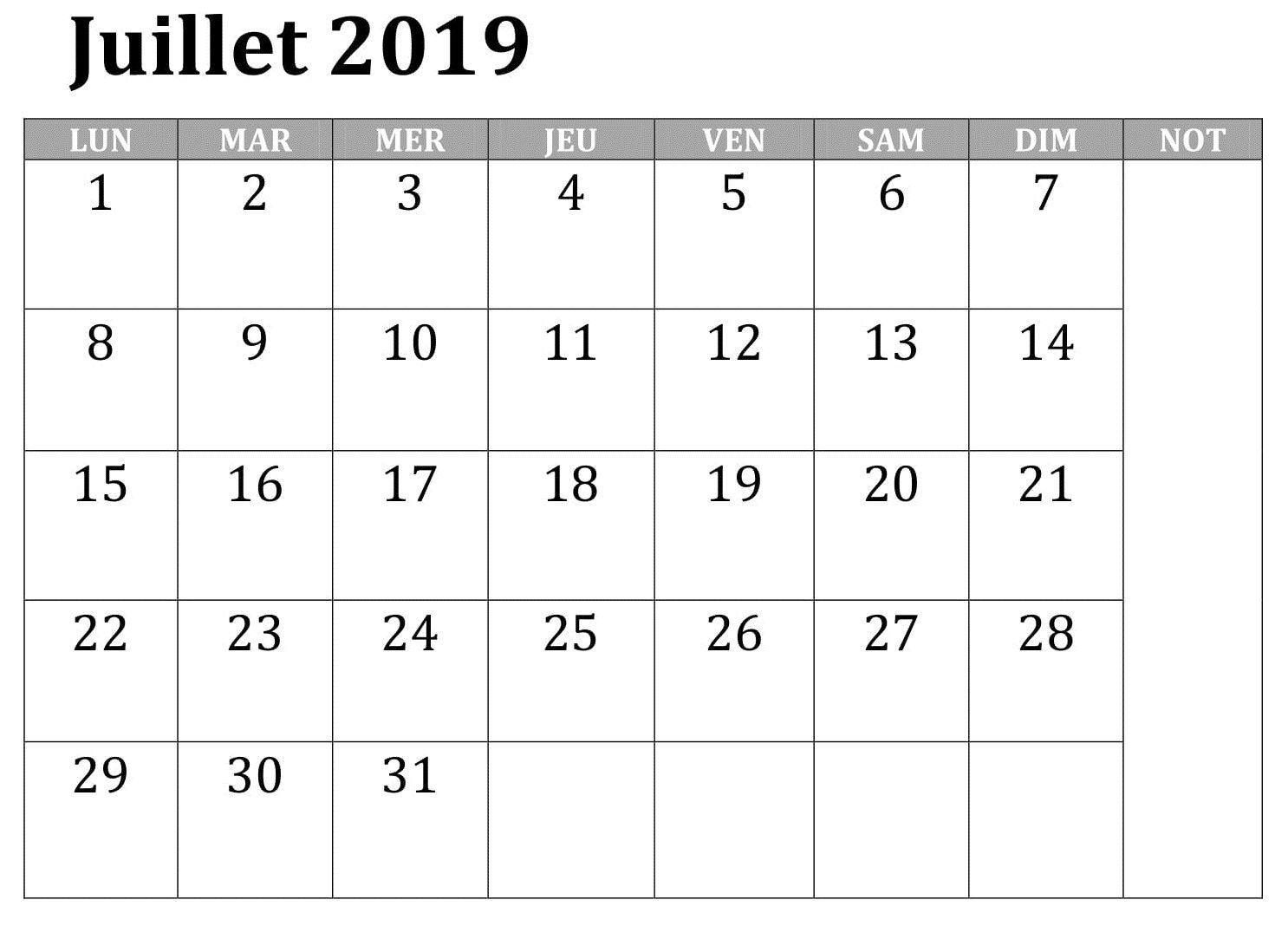Calendrier Du Mois De Juillet 2019.Calendrier Mois Juillet 2019 Pdf In 2019 Periodic Table