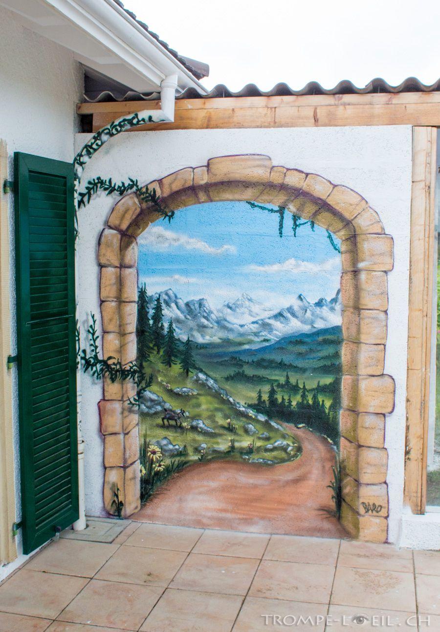 chemin de montagne lausanne d coration trompe l 39 oeil peinture pinterest tromp e. Black Bedroom Furniture Sets. Home Design Ideas