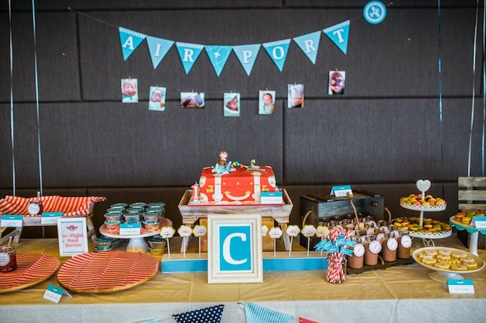 Dessert Table from an Airplane in the Clouds Aviator Birthday Party via Kara's Party Ideas KarasPartyIdeas.com (20)