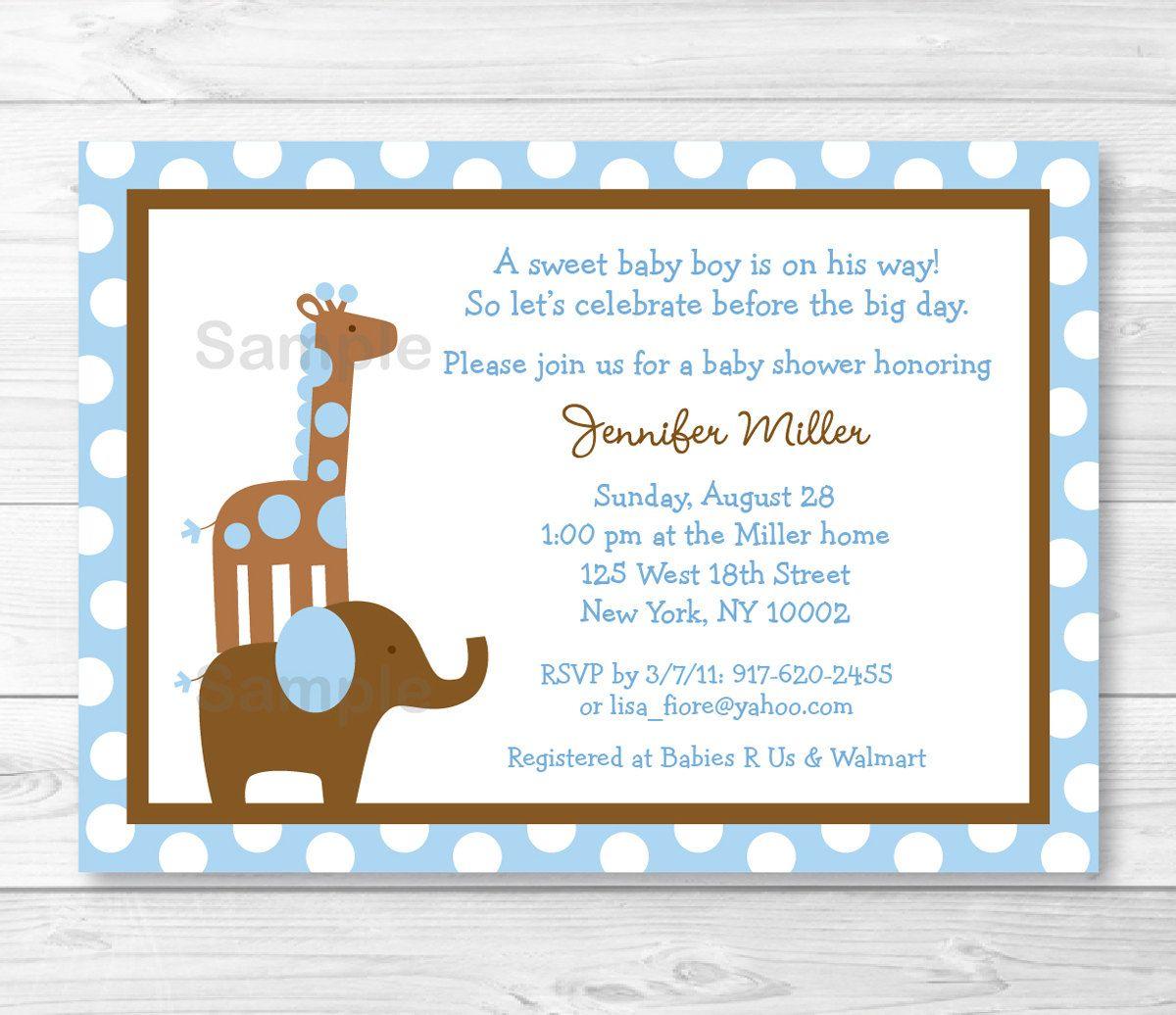 BabyShowerInvitation Blue Elephant Giraffe Baby Shower Invitation ...