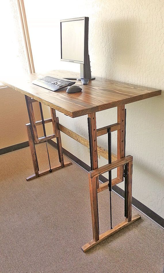 Classy Computer Tables To Go With Living Room Decor: Manually Adjustable Wooden Standing Desk