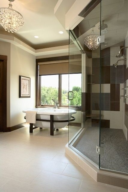 Bathroom Design Ideas, Pictures, Remodeling and Decor if you have to have free standing tub this looks good