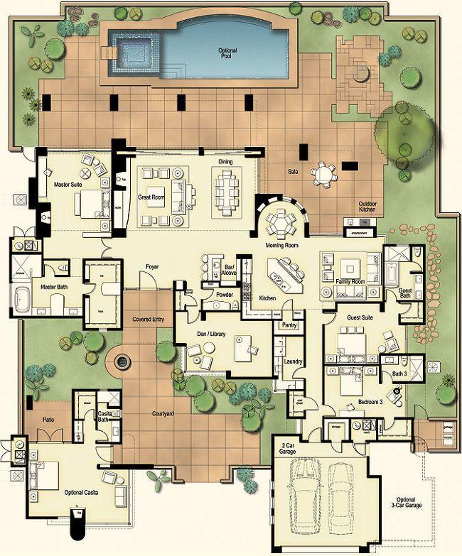 Tucson Custom Home Hacienda Floor Plan Courtyard House