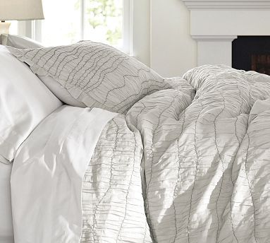 Ruched Voile Duvet Cover Sham Gray Potterybarn Duvet Covers Contemporary Duvet Covers Home