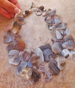 FREEFORM NOUGAT CREAM GREY AGATE GEMSTONE NECKLACE BIG BEADED GEM NEST JEWELRY