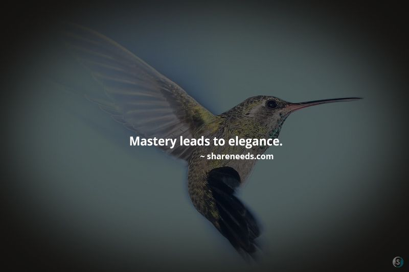 Mastery leads to elegance.