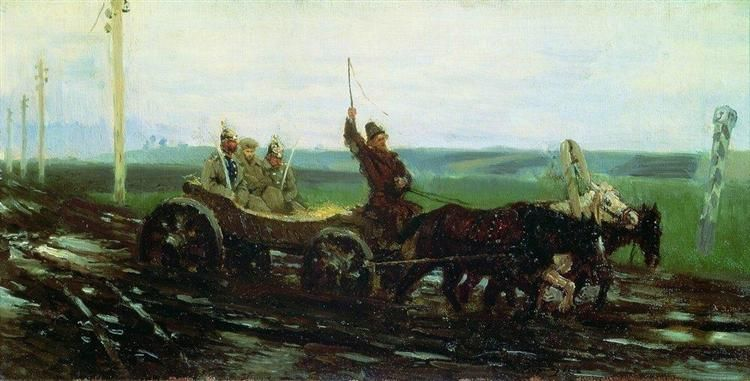 Under escort. On the muddy road, 1876 by Ilya Repin.