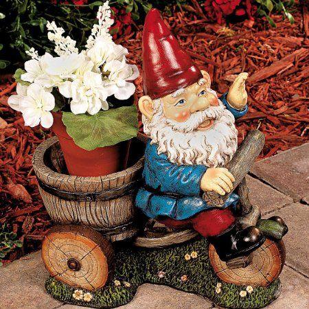 Cute Garden Gnome on Bike Flower Pot Holder Statue Gnome Yard