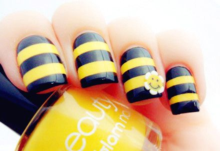 "This would make for a fun Beehive class activity.  A mini lesson on what it means to ""bee"" beautiful. OR talk about being a Beehive -a symbol of harmony and cooperation (you will learn to work together as you strengthen your faith in Jesus Christ)  Manicures and these cute bee inspired nails!"