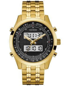 Guess Men's Analog-Digital Gold-Tone Stainless Steel Bracelet Watch 45mm U0859G1 - Gold