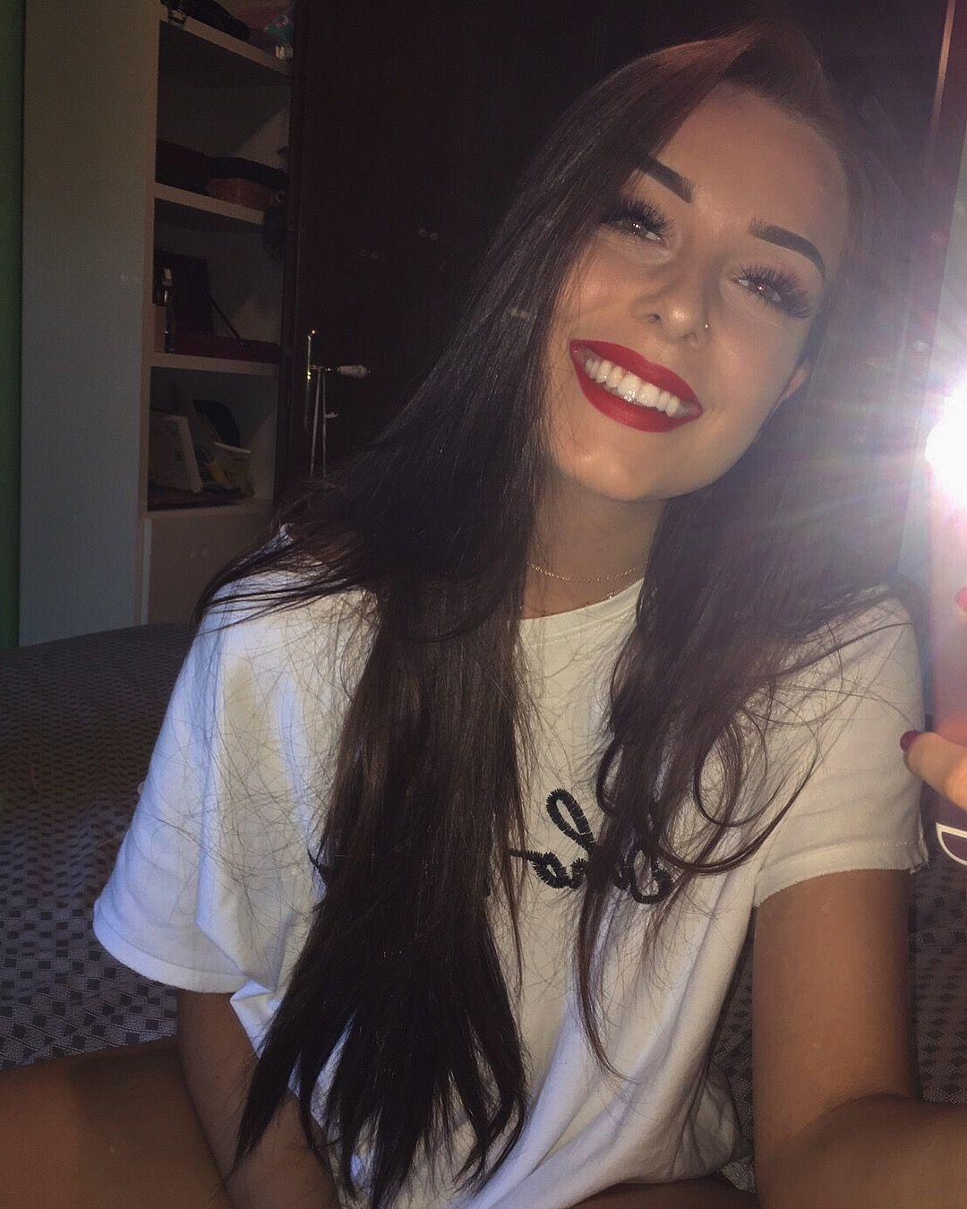 Smile. White Teeth. Red Lips. Long Hair. Brunette. Fashion