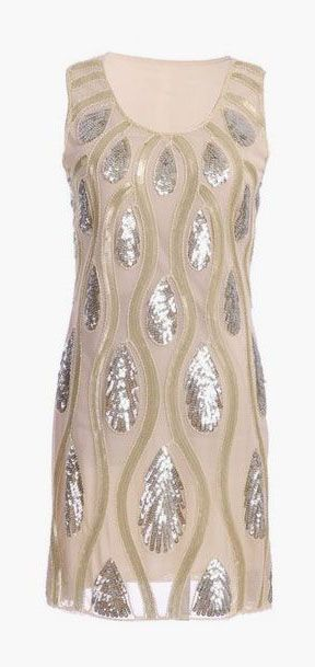 Tear Drops and Waves Pattern Sequin Dress