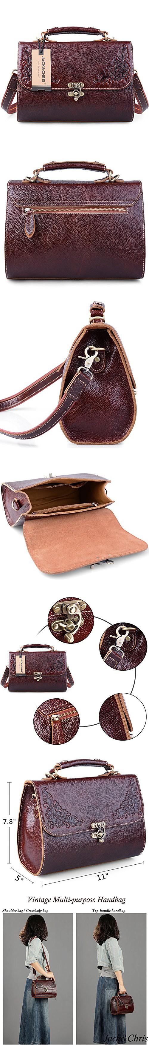 a4ac099823ea Jack Chris Small Vintage Satchel Leather Handbags Floral Purse Top Handle  Crossbody Bag for Women