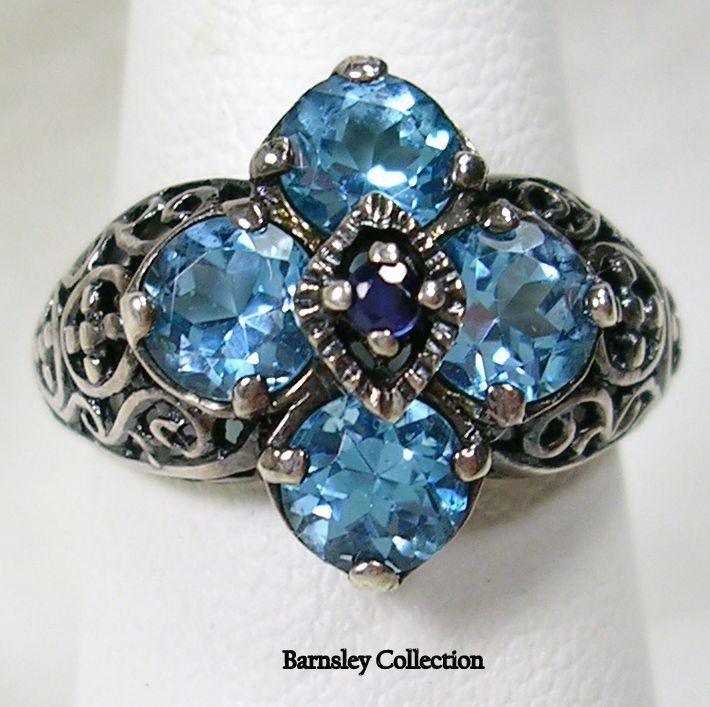 Blue Topaz and Sapphire Filigree
