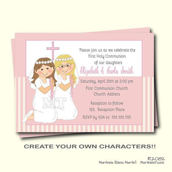 8f9dba2dbe9369c6f1292620311f391c first communion invitation twin girls first holy communion invite,First Communion Invitations For Boy Girl Twins