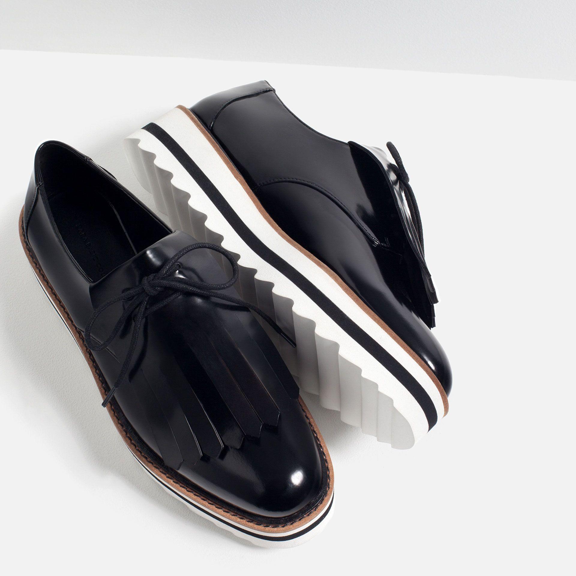 chaussures plates franges tout voir nouveaut s femme collection ss16 zara belgique. Black Bedroom Furniture Sets. Home Design Ideas