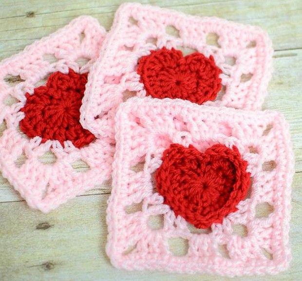 Just perfect for Valentine\'s Day…or any day! This granny square with ...