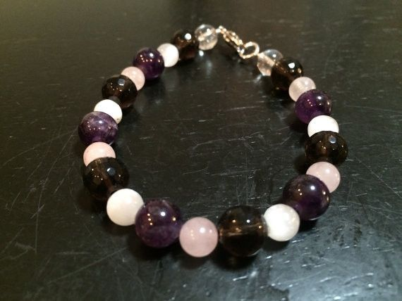 T Cancer Bracelet Lung Healing Crystal Selenite Amethyst Smoky Quartz Rose This Is Meant To