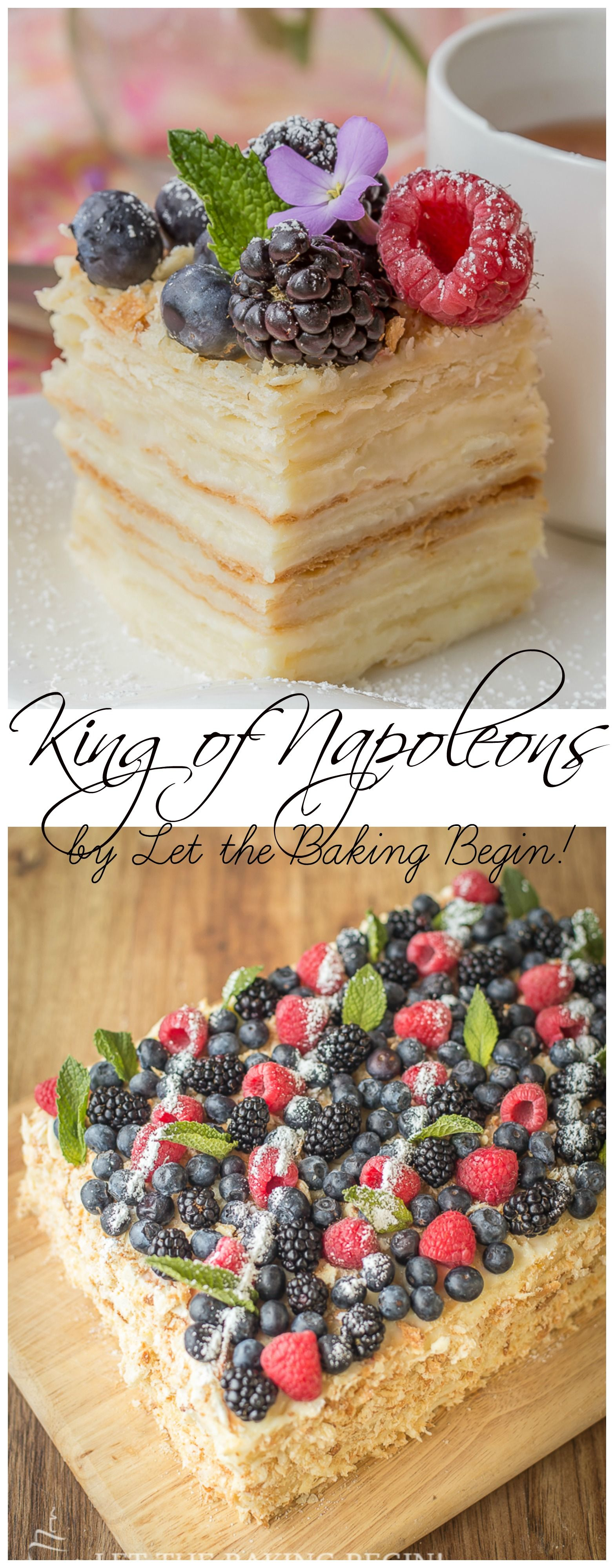 Delicious puff pastry cake, layered with custard & topped with berries. Plus a tip on how to speed up the baking process. by LetTheBakingBeginBlog.com #napoleonkuchenrussisch
