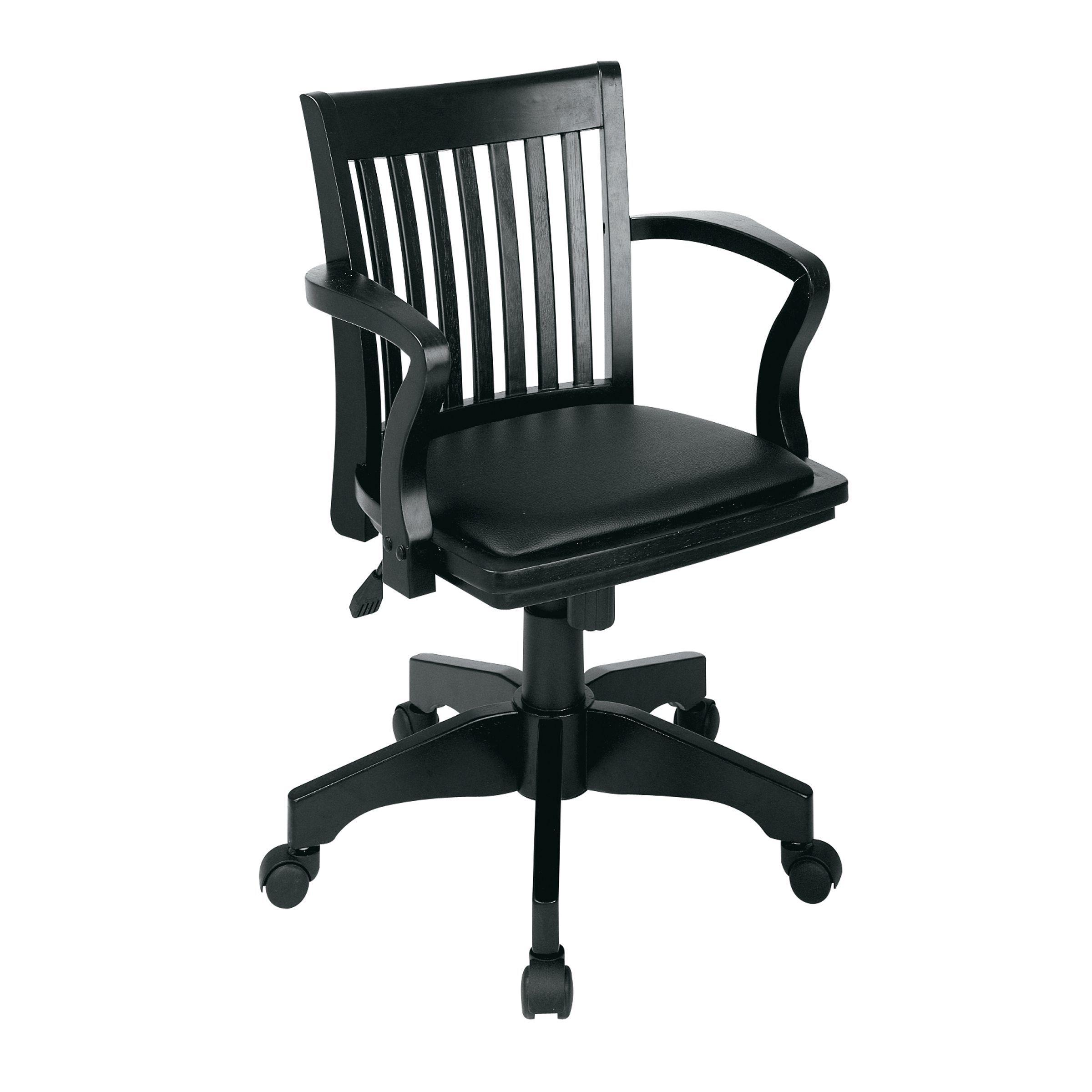 Office Star Adjustable Wood Bankersu0027 Desk Chair With Vinyl Seat    Fruitwood/Black