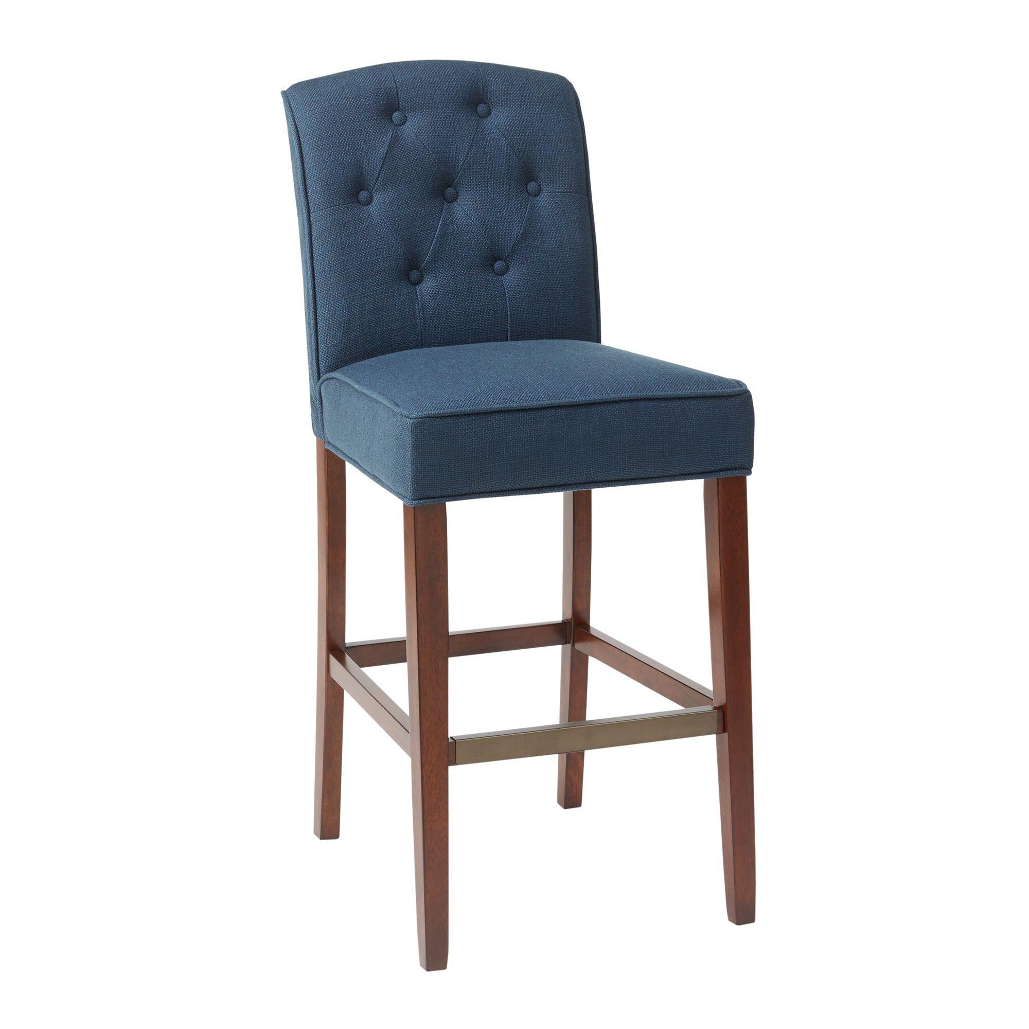 Awesome Madison Park Misha Navy Tufted 30 Inch Bar Stool 19 5 Ibusinesslaw Wood Chair Design Ideas Ibusinesslaworg