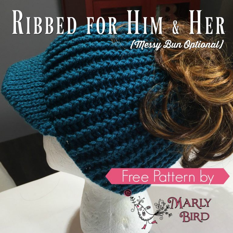 Free Crochet Messy Bun Hat Pattern by Marly Bird | hats | Pinterest