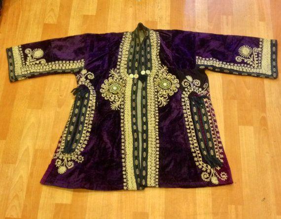 Uzbek velvet jacket kaftan vintage old handmade by akcaturkmen