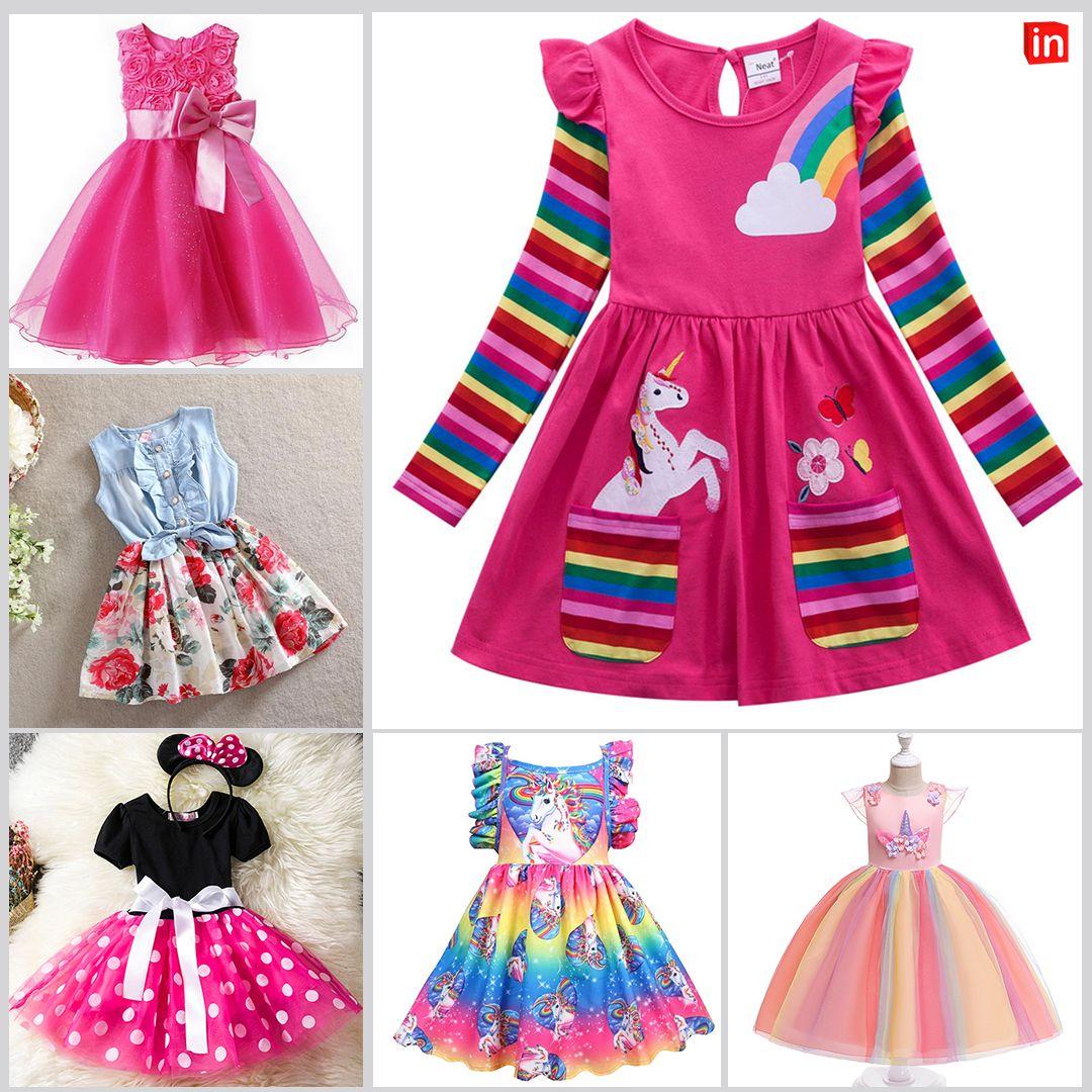 Kids Girls' Active Unicorn Geometric Animal Print Long Sleeve Above Knee  Dress Blue   Knee dress, Outfits, Dresses