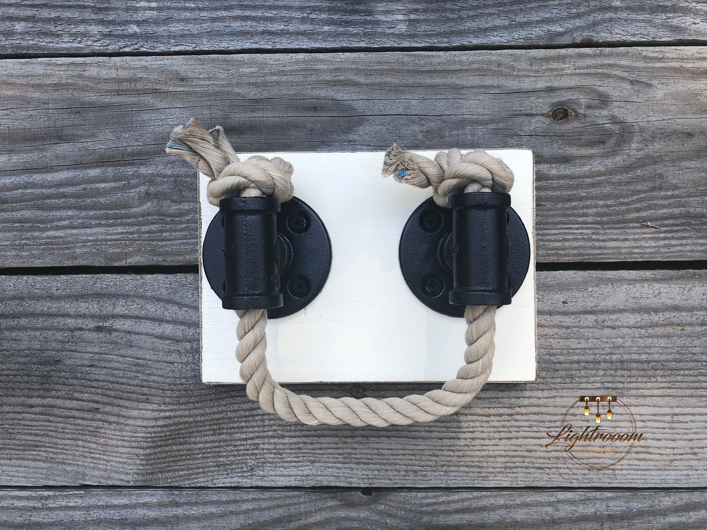 Rustic Antique White Rope Towel Ring Nautical Design Towel Bar