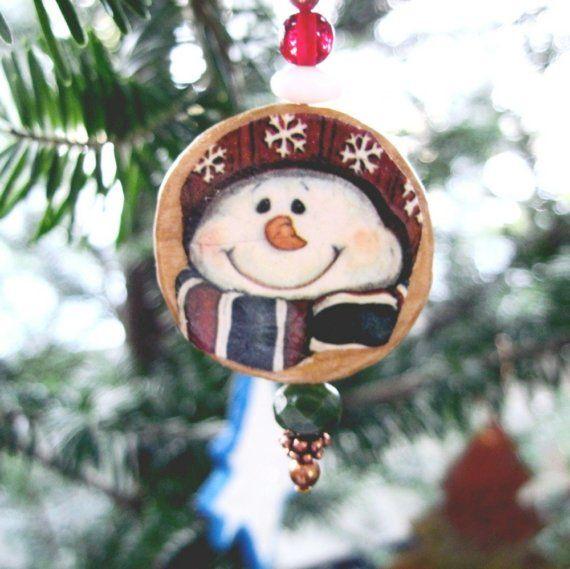 Happy Snowman Christmas Ornament Decoupage Wood Woodland Mini Decoration Holiday Decor