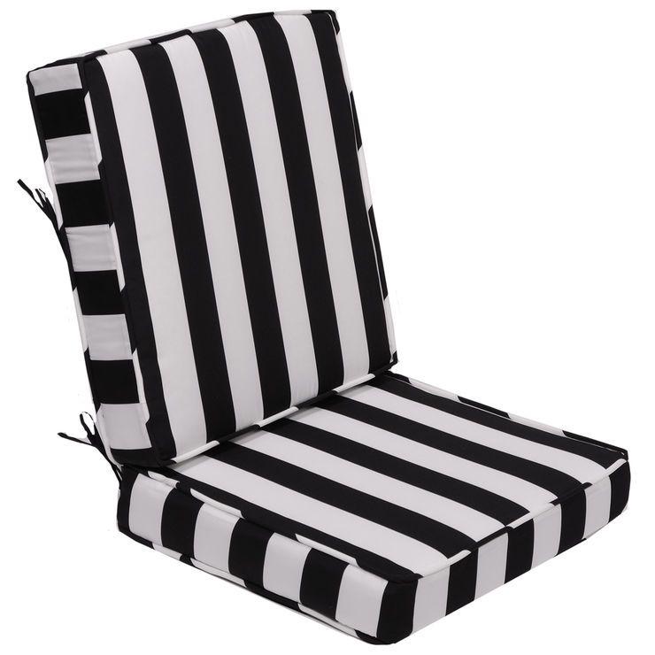 Black awning stripe outdoor deep seat 2piece cushion