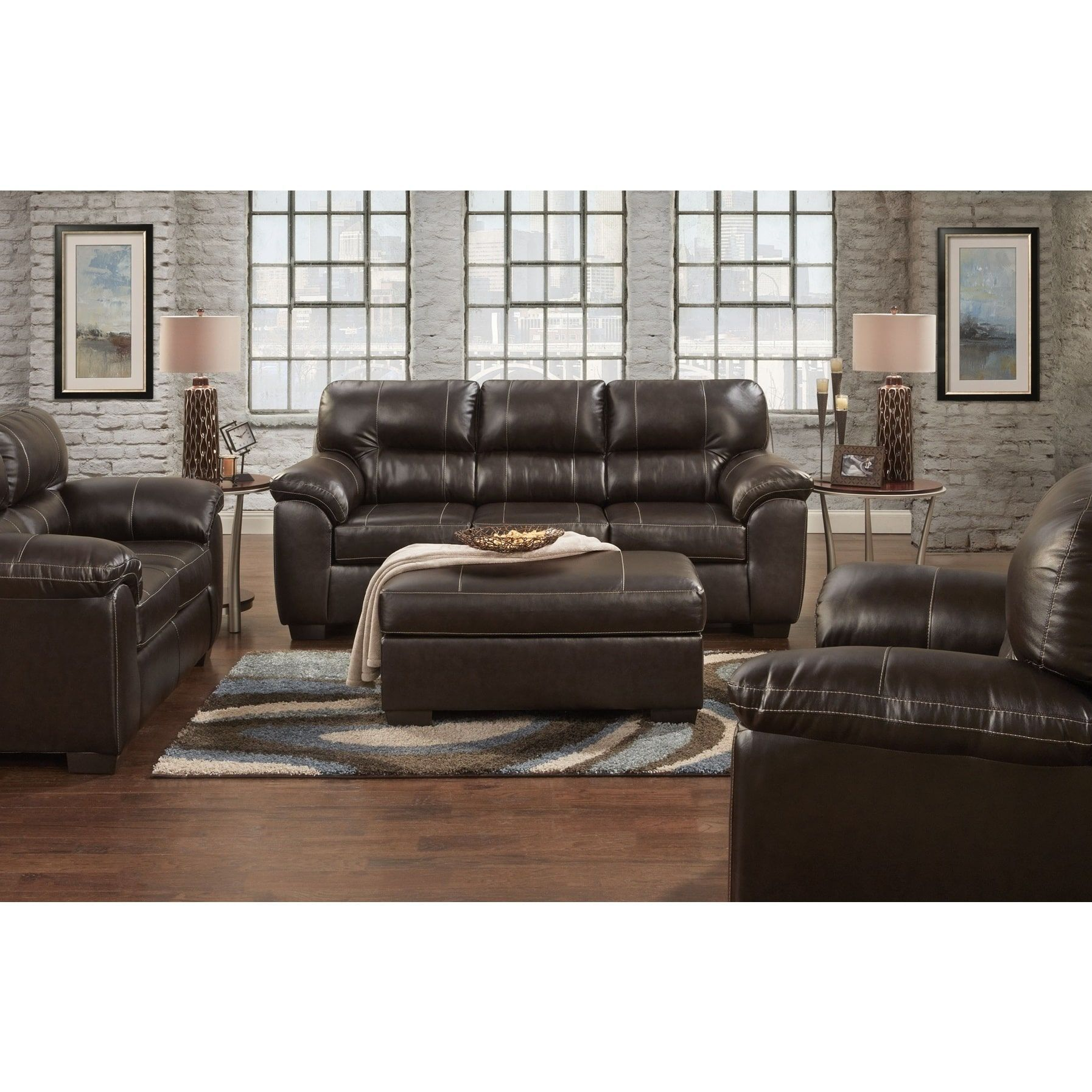 leeds pu leather living room set with sofa and loveseat set in