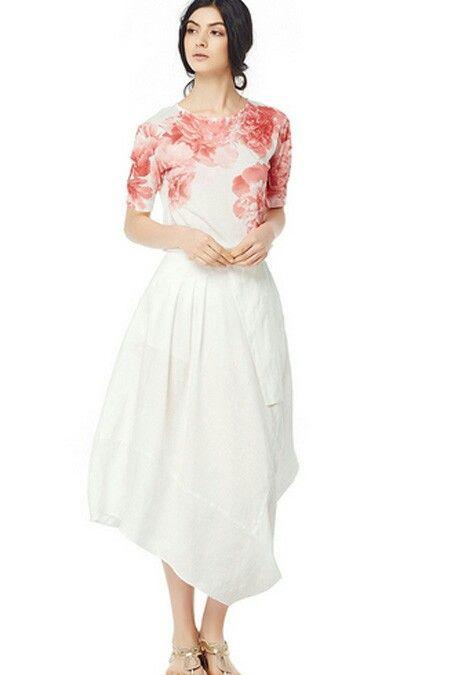 Crafted #Lagenlook Linen Half-Moon Shape skirt | SKU: LininB003 | #fashion #skirt #linen