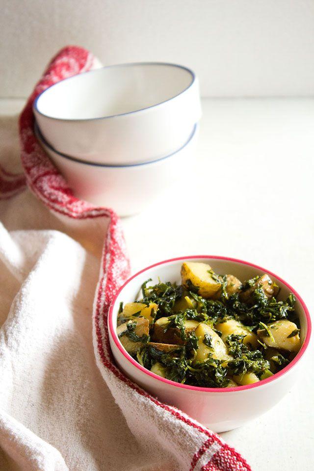 punjabi aloo methi recipe dry vegetable dish made with potatoes and fresh fenugreek leaves easy recipe made with minimal ingredients