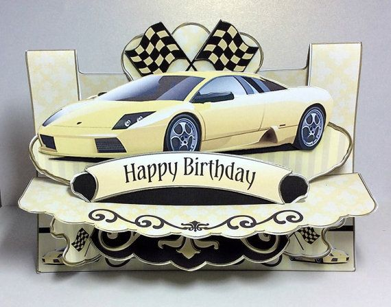 This 3d golden car card is perfect for any man who wants to own his 3d birthday card yellow car card 3d car birthday card birthday card for him 3d card birthday card sports car card husband card bookmarktalkfo Image collections