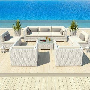 white garden furniture. Uduka Outdoor Patio Furniture White Wicker Set Daly 8 Off All Weather Couch Garden N