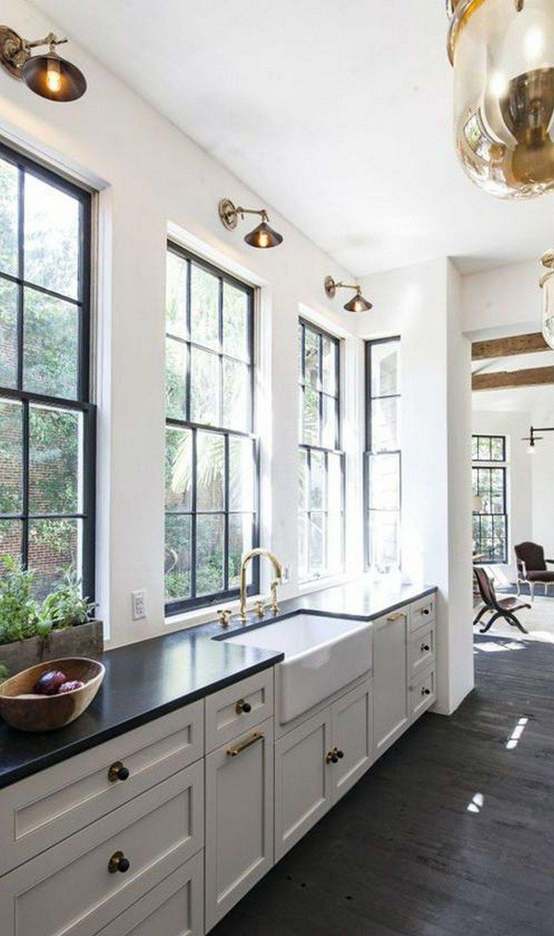 65 modern farmhouse home office with black window trim 33