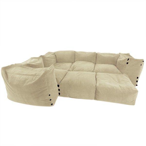 Cotton Modular Corner Sofa Bean Bags 9pc Luxury Set