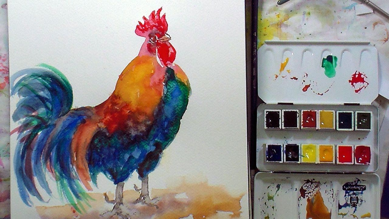 Rooster Painting Tutorial In Schminke Akademie Watercolor