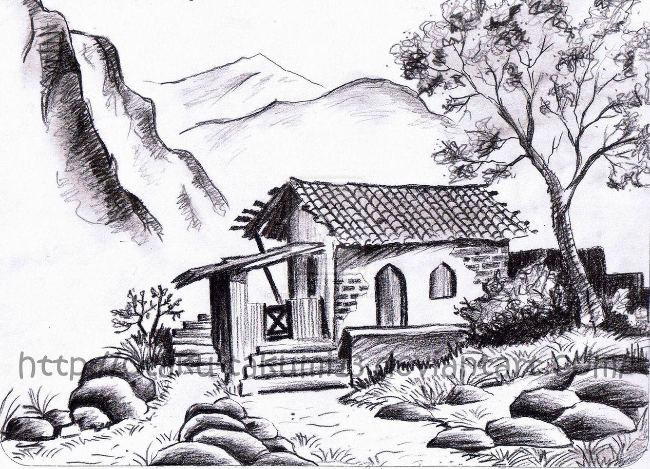 Draw this unique art ideas pinterest drawings for Landscape pencil sketches simple