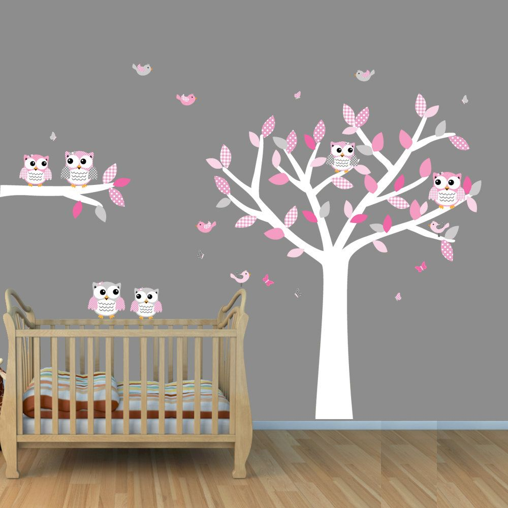 Owl tree wall decals white tree wall stickers with owls and birds owl tree wall decals white tree wall stickers with owls and birds girl tree amipublicfo Image collections