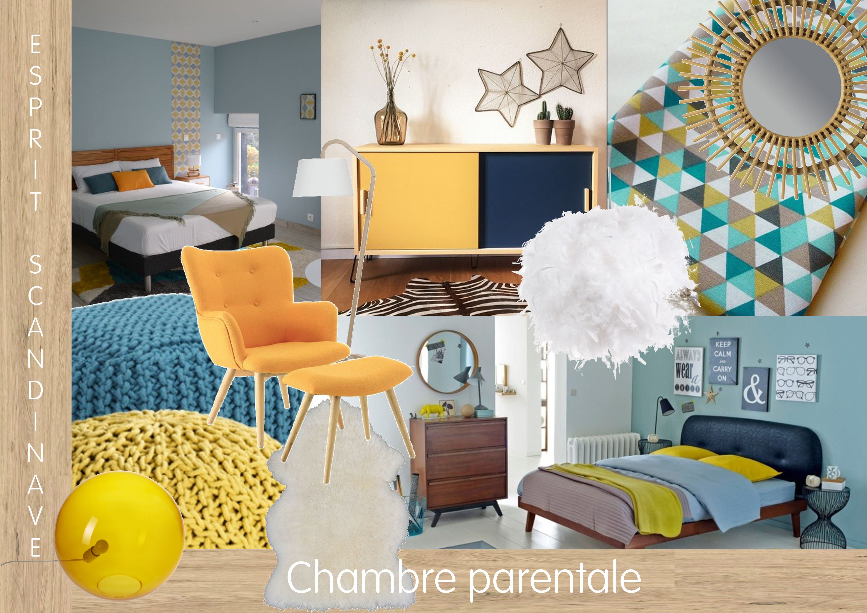 planche tendance projet conseils en decoration chambre parentale sur le style scandinave chaleureux