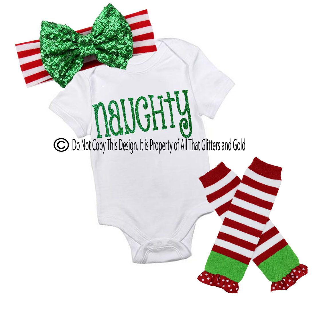 Glitter Naughty Handmade Christmas Outfit For Baby Girls and Little ...